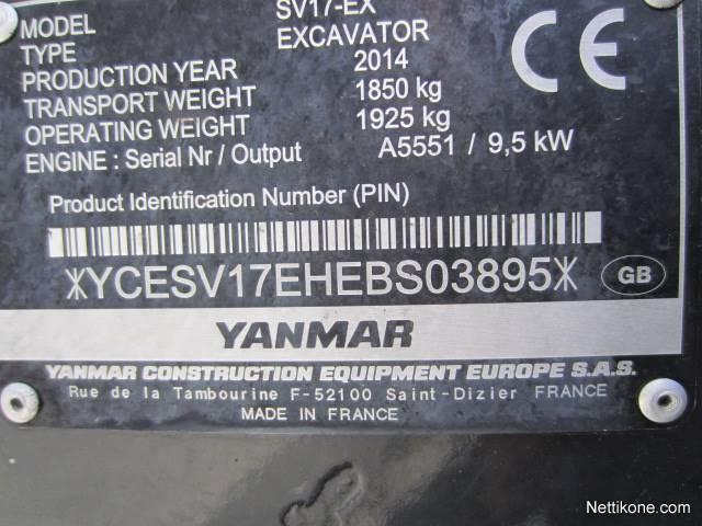 Yanmar SV 17 construction excavators2014 - Nettikone