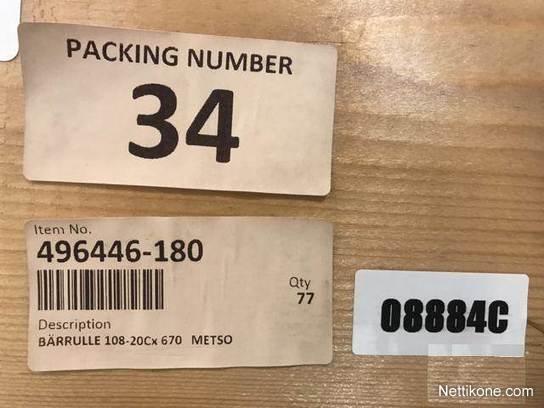 Metso Conveyor roller 108-20Cx670 496446-1 Kuljetinrulla
